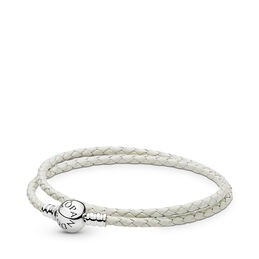 Moments Double Woven Leather Bracelet, Ivory White, Sterlingsilver, Läder, Vit, Utan ädelsten - PANDORA - #590745CIW-D