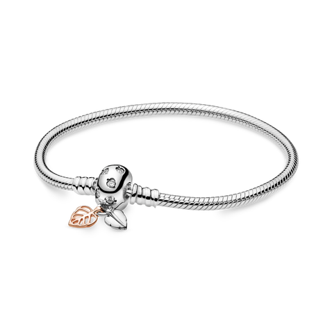 Pandora Moments Leaves & Snake Chain Armband