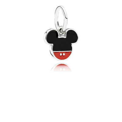 Disney Mickey silver dangle with black and red enamel, Sterlingsilver, Emalj, Svart, Utan ädelsten - PANDORA - #791461ENMX