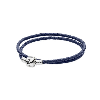 Moments Double Woven Leather Bracelet, Dark Blue, Sterlingsilver, Läder, Blå, Utan ädelsten - PANDORA - #590705CDB-D