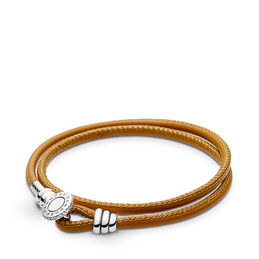 Moments Double Leather Bracelet, Golden Tan, Sterlingsilver, Läder, Brun, Kubisk zirkonia - PANDORA - #597194CGT-D