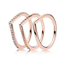 PANDORA ROSE Wishbone Ringstack - PANDORA - #NE_RingStacking12