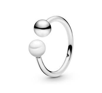 Bead & Freshwater Cultured Pearl Öppen Ring