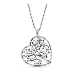 Tree of Love Necklace, Sterlingsilver, Mixed Material, Rosa, Utan ädelsten - PANDORA - #396582ENMX