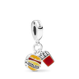 Burger & Fries, Sterlingsilver, Emalj, Orange, Kubisk zirkonia - PANDORA - #797211ENMX