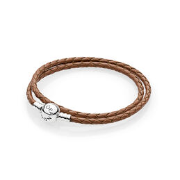 Moments Double Woven Leather Bracelet, Brown, Sterlingsilver, Läder, Brun, Utan ädelsten - PANDORA - #590745CBN-D