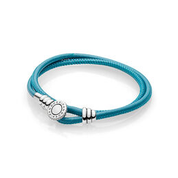 Moments Double Leather Bracelet, Turquoise, Sterlingsilver, Läder, Turkos, Kubisk zirkonia - PANDORA - #597194CTQ-D
