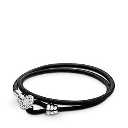 Moments Double Leather Bracelet, Black, Sterlingsilver, Läder, Svart, Kubisk zirkonia - PANDORA - #597194CBK-D