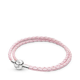 Moments Double Woven Leather Bracelet, Pink, Sterlingsilver, Läder, Rosa, Utan ädelsten - PANDORA - #590745CMP-D