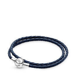 Moments Double Woven Leather Bracelet, Dark Blue, Sterlingsilver, Läder, Blå, Utan ädelsten - PANDORA - #590745CDB-D