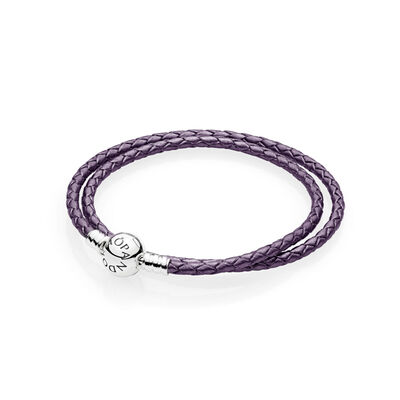 Moments Double Woven Leather Bracelet, Purple, Sterlingsilver, Läder, Lila, Utan ädelsten - PANDORA - #590745CPE-D