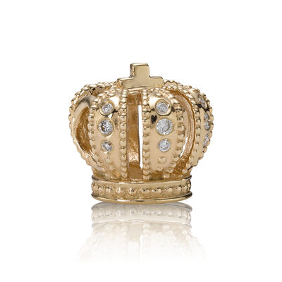 Majestic Crown, gold charm, 0.108ct TW h/vs diamonds, Guld 14K, Inget annat material, Ingen färg, Diamant H/VS - PANDORA - #750453D