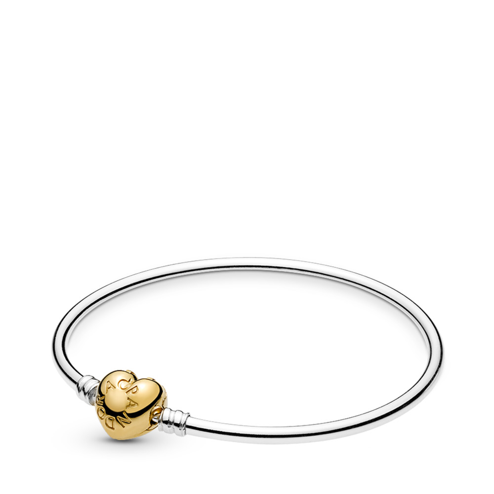Moments Silver Bangle, PANDORA Shine Logo Heart