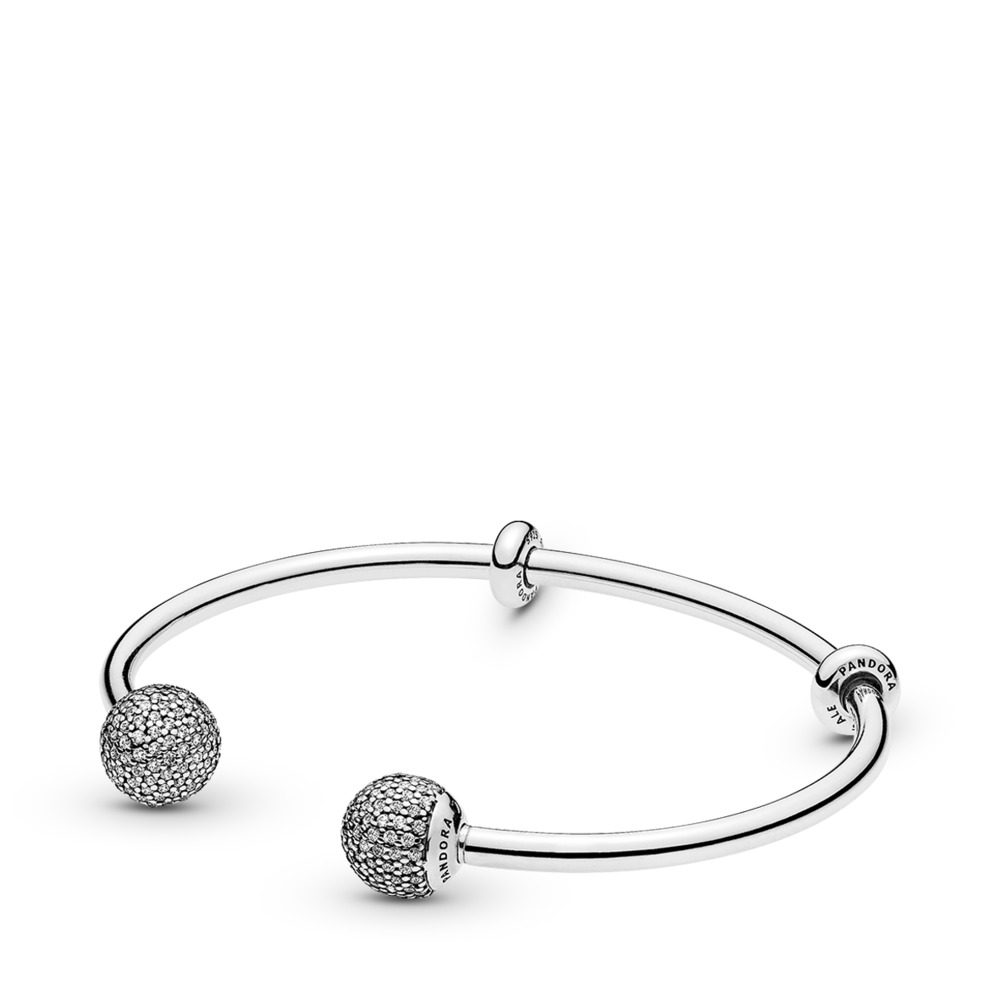 Moments Silver Open Bangle, Pavé Caps