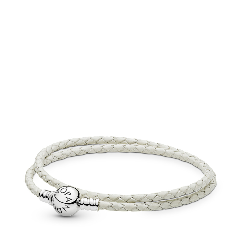 Moments Double Woven Leather Bracelet, Ivory White
