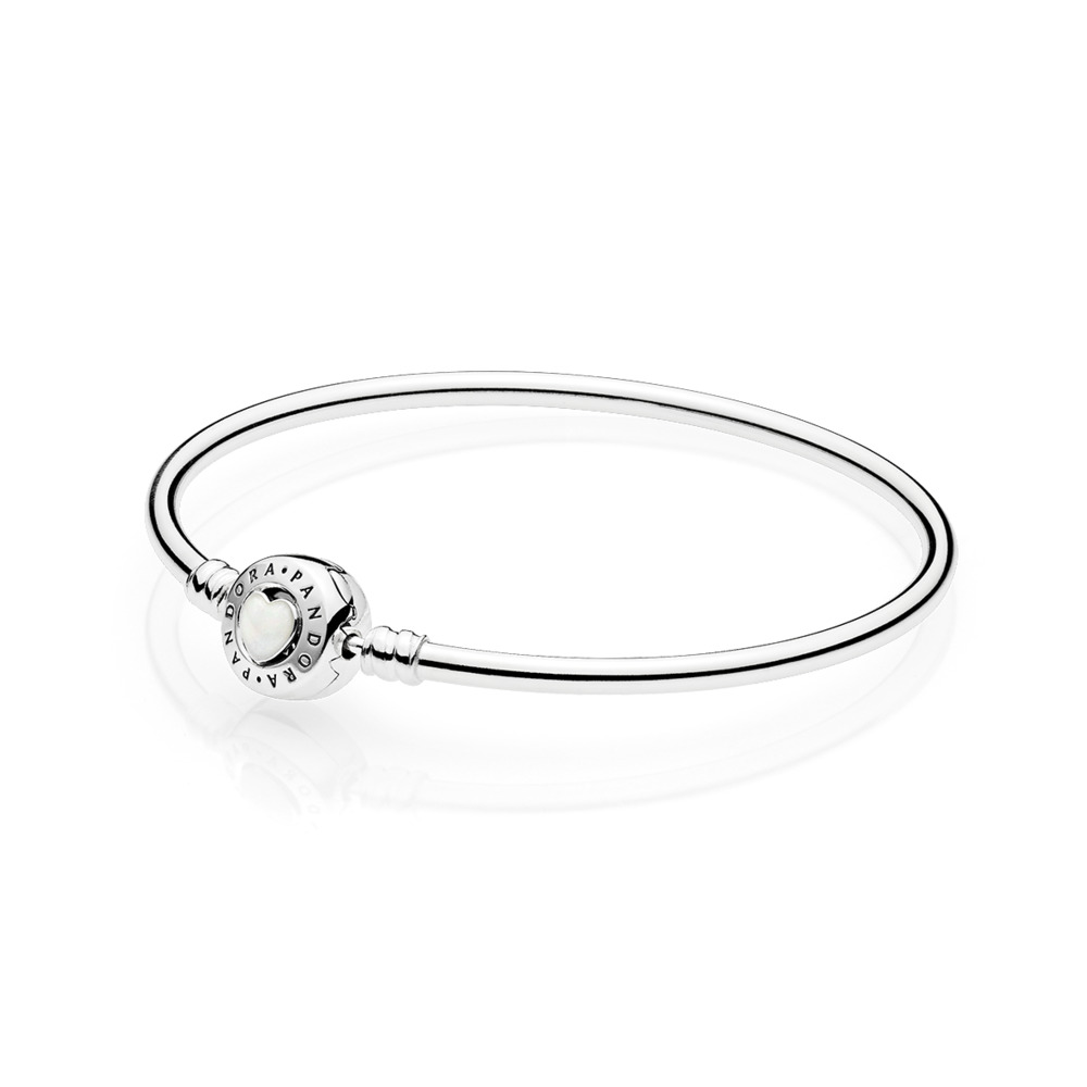 Moments Silver Bangle, Loving Heart Clasp