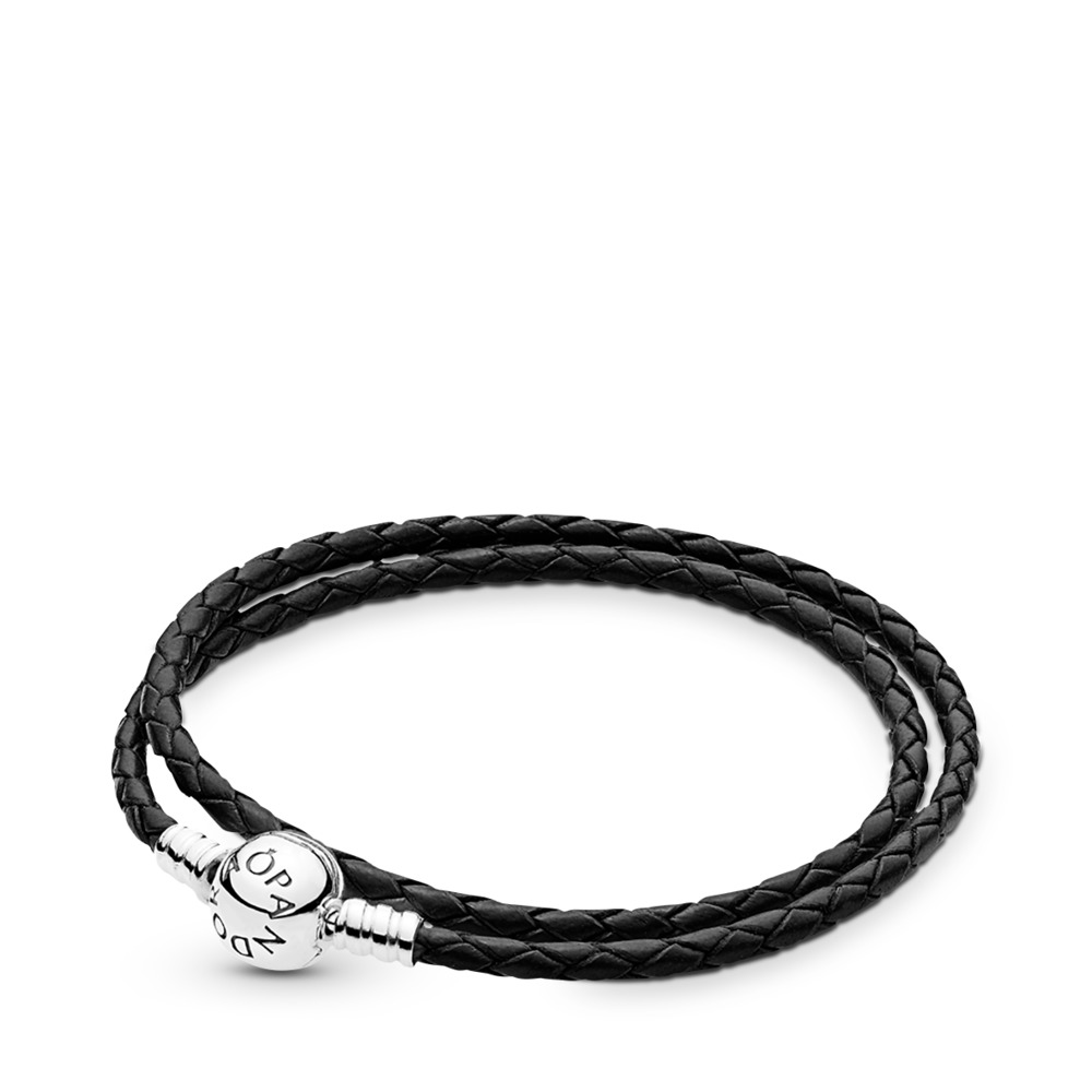 Moments Double Woven Leather Bracelet, Black